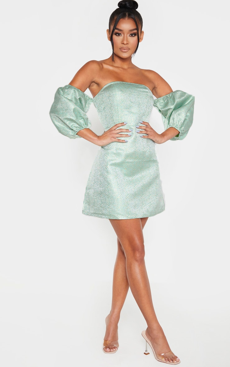 Green Jacquard Bardot Puff Sleeve Bodycon Dress