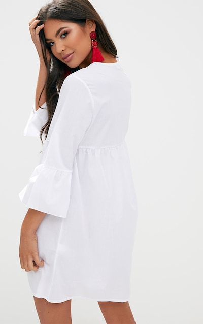 White 3/4 Sleeve Smock Dress
