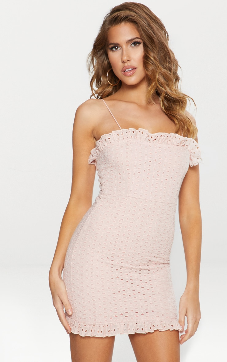 Dusty Pink Broderie Anglaise Strappy Ruffle Detail Bodycon Dress 1