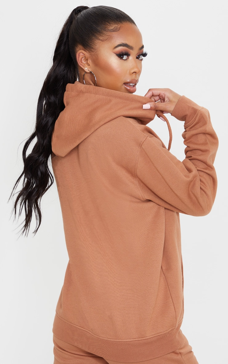 Tan Oversized Wax Toggle Hoodie 2