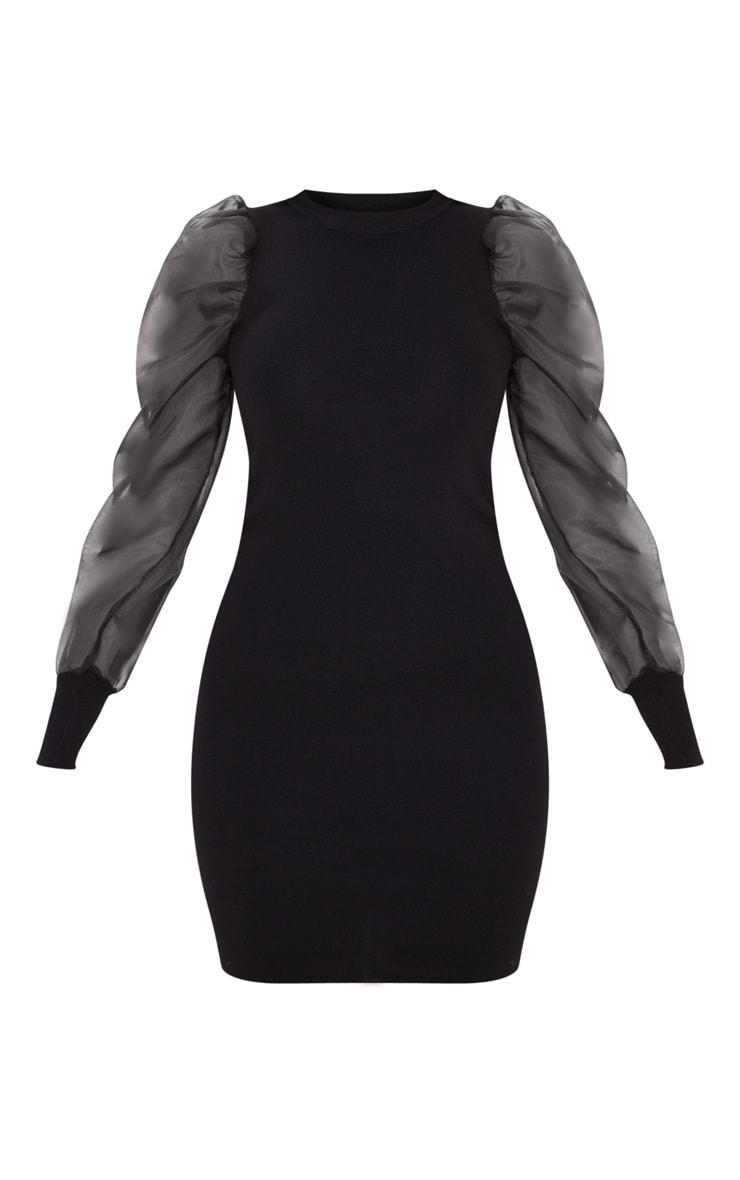 Black Organza Puff Sleeve Dress 3