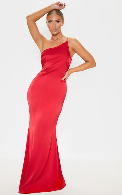 fa757282205 Red Satin One Shoulder Maxi Dress