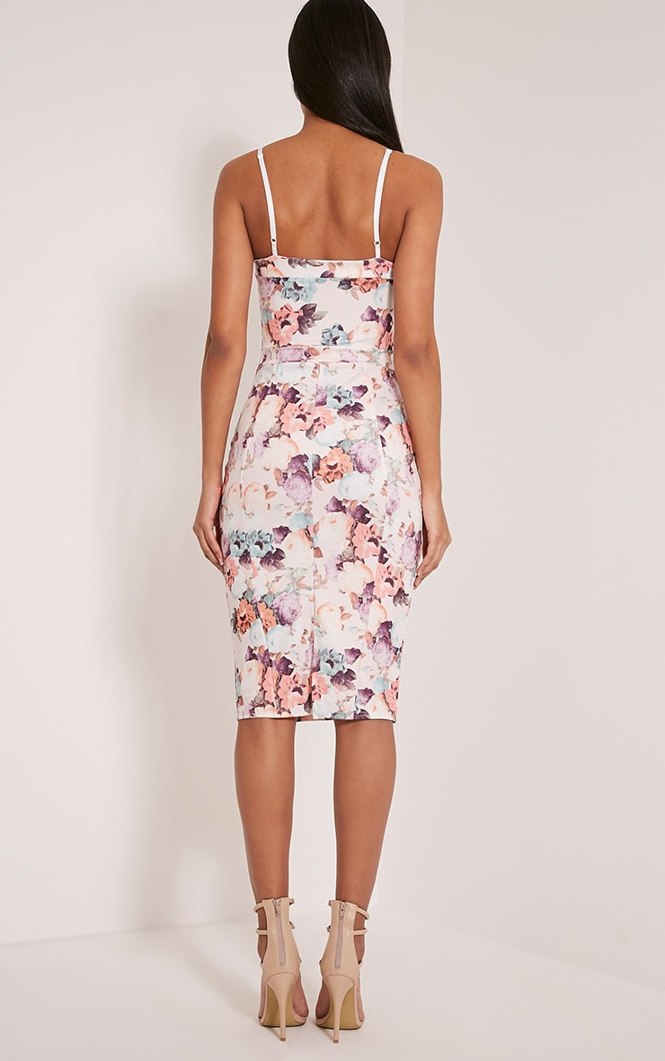 Dinah White Floral Print Strappy Midi Dress 2