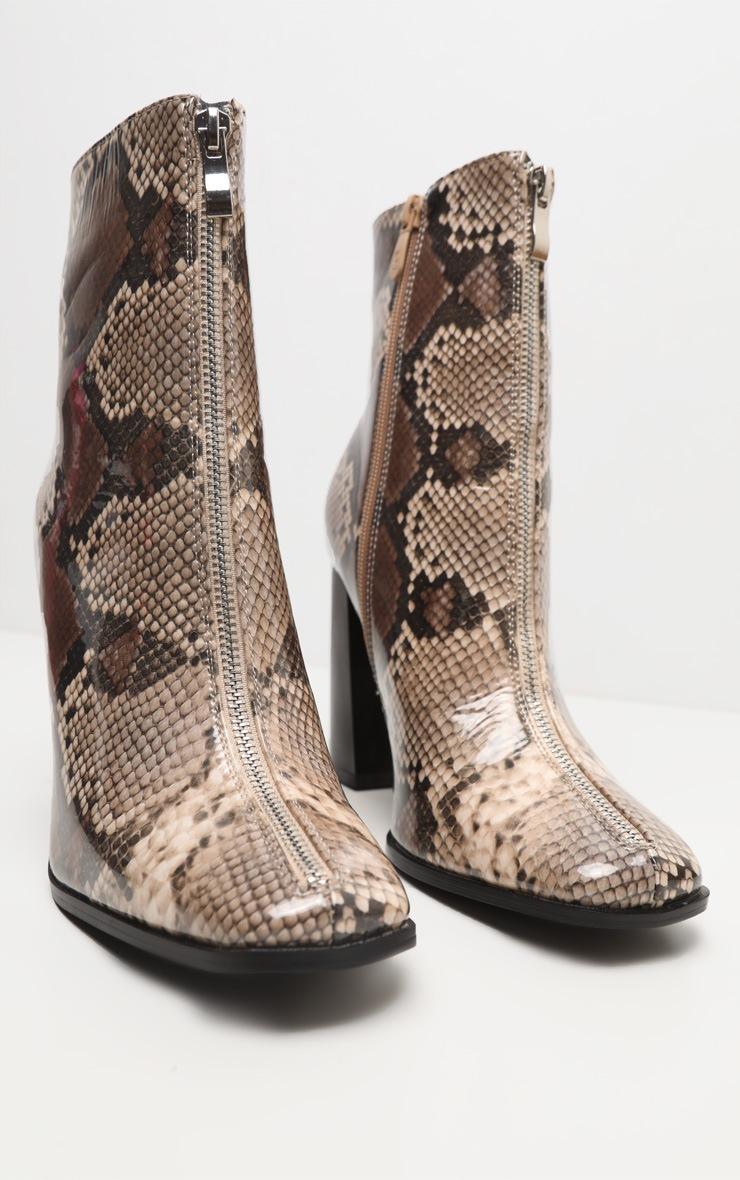 Brown Snake Zip Front Block Heel Ankle Boot 4