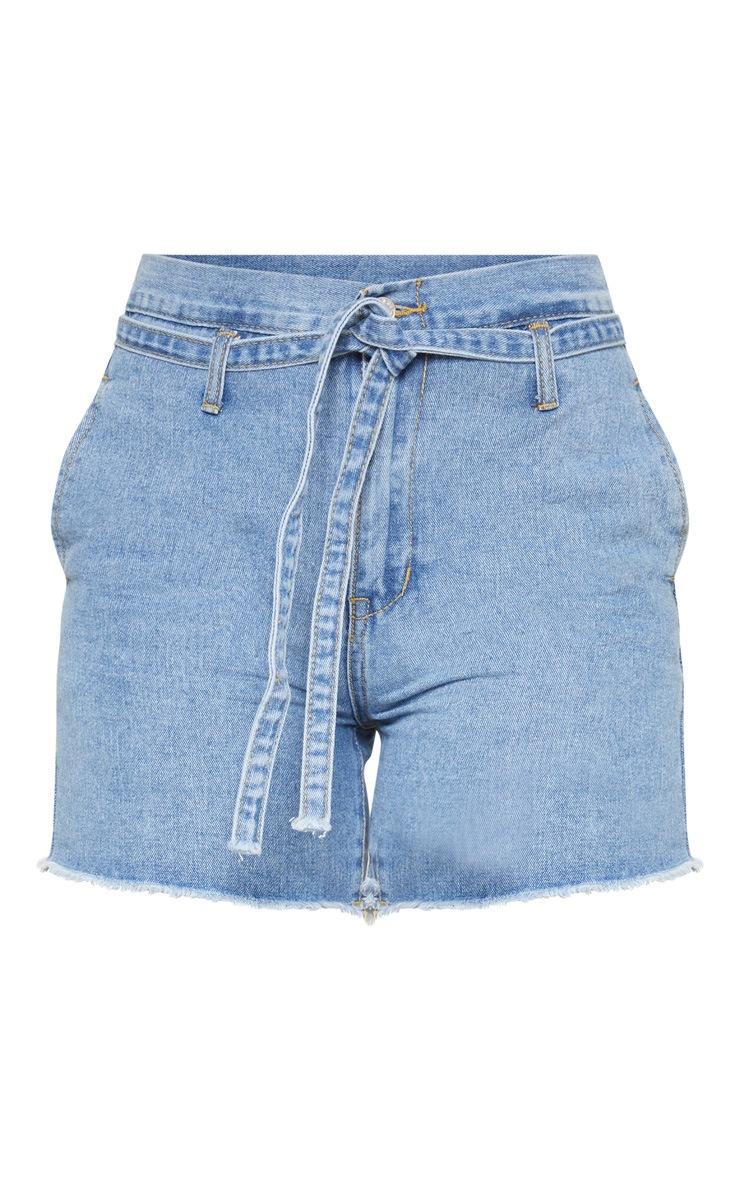 Light Blue Wash Paperbag Shorts 3