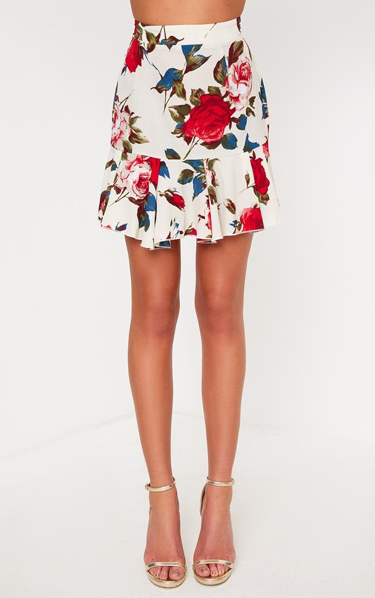 Cream Rose Print Frill Hem Mini Skirt 2