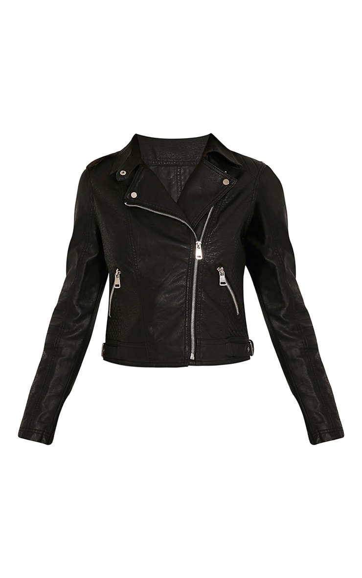 Annie Black PU Textured Biker Jacket 3