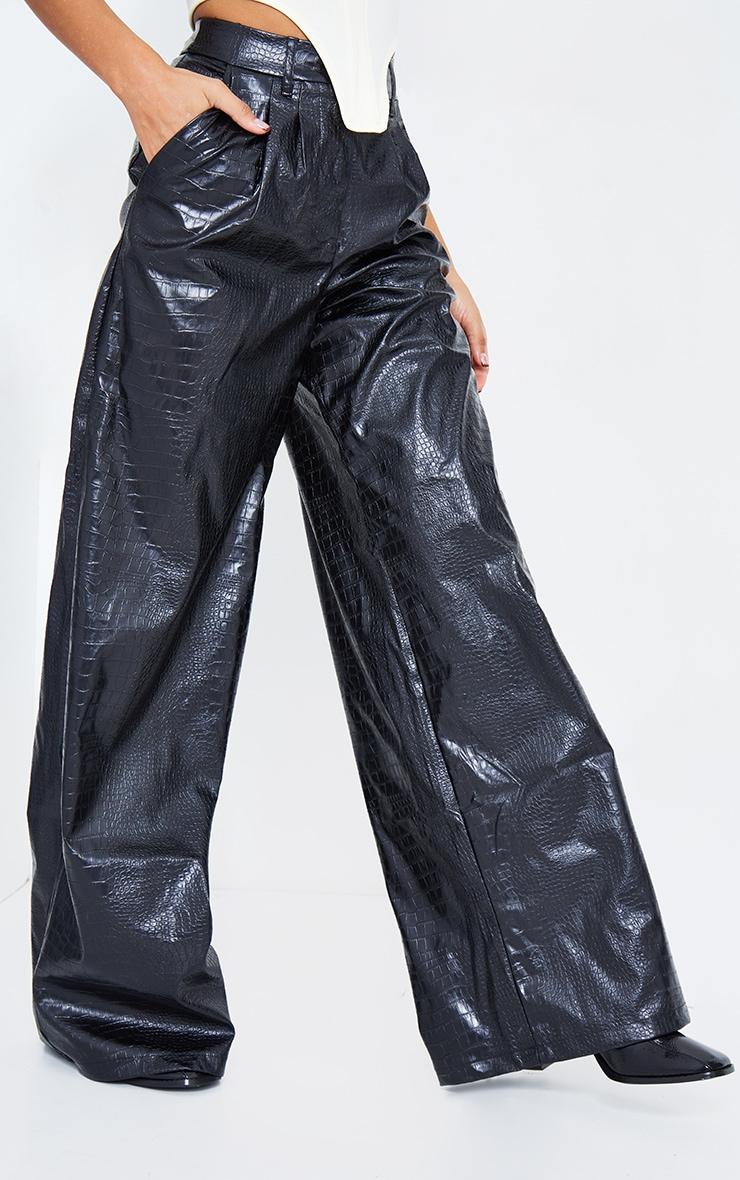 Black Croc Faux Leather Wide Leg Pant 3