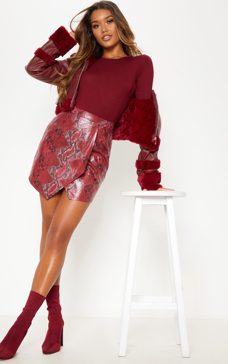 Basic Burgundy Crew Neck Long Sleeve Bodysuit 2