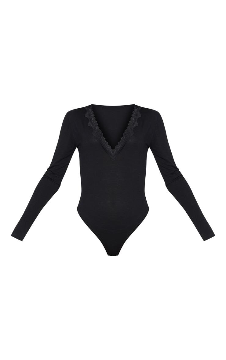 Black Lace Trim Plunge Long Sleeve Bodysuit 3