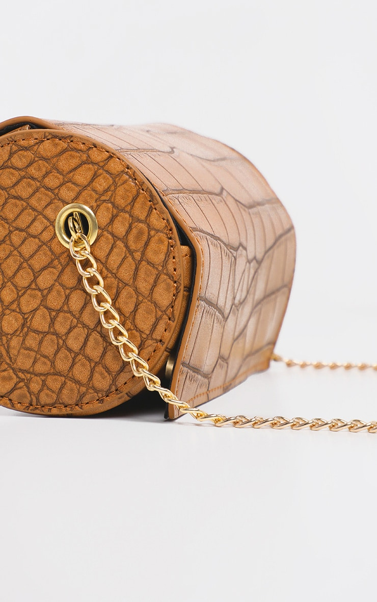 Tan Croc Barrel Shape Mini Cross Body Bag  3