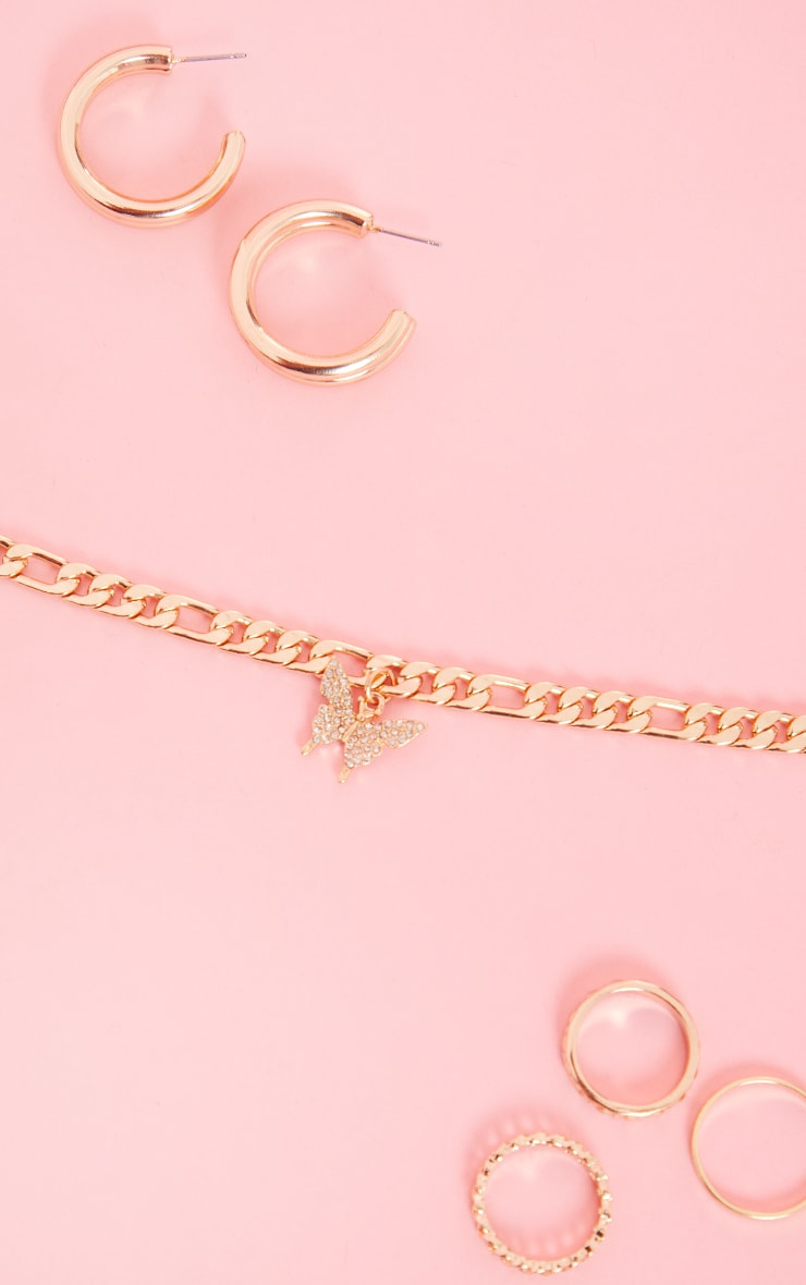 Gold Dainty Chain Pave Butterfly Necklace 3