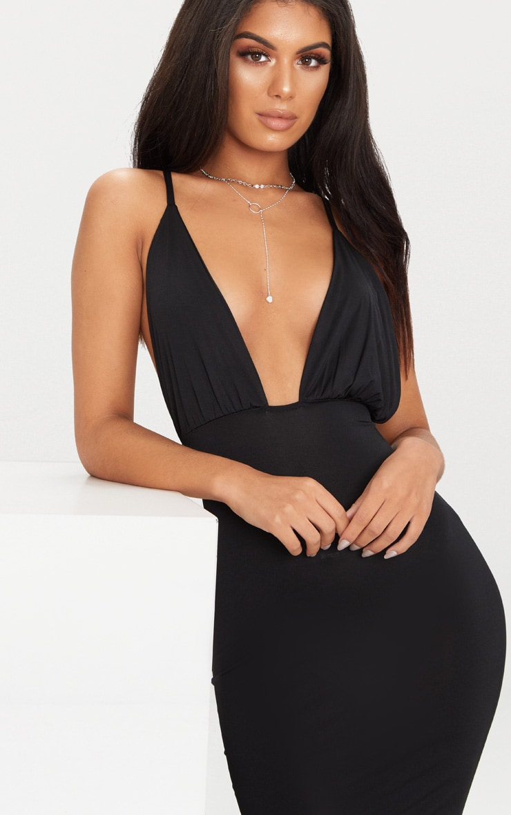 Black Double Layer Slinky Ruched Detail Cross Back Midi Dress 5