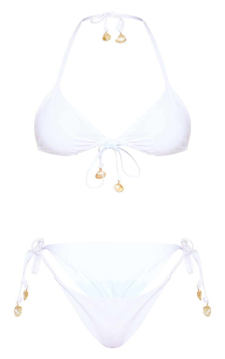 White Shell Detail Padded Triangle Bikini Top 5
