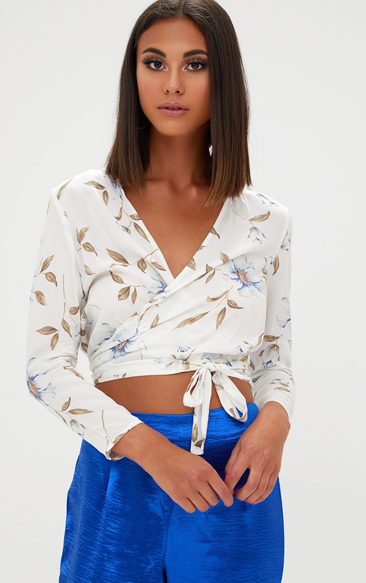 Blanche Cream Floral Print Tie Front Shirt  1
