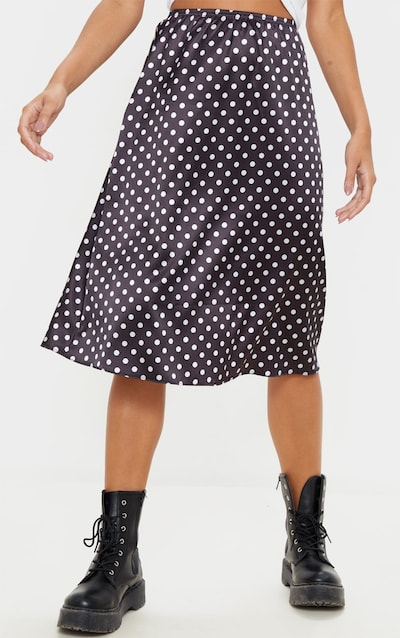 Black Satin Polka Dot Midi Skirt