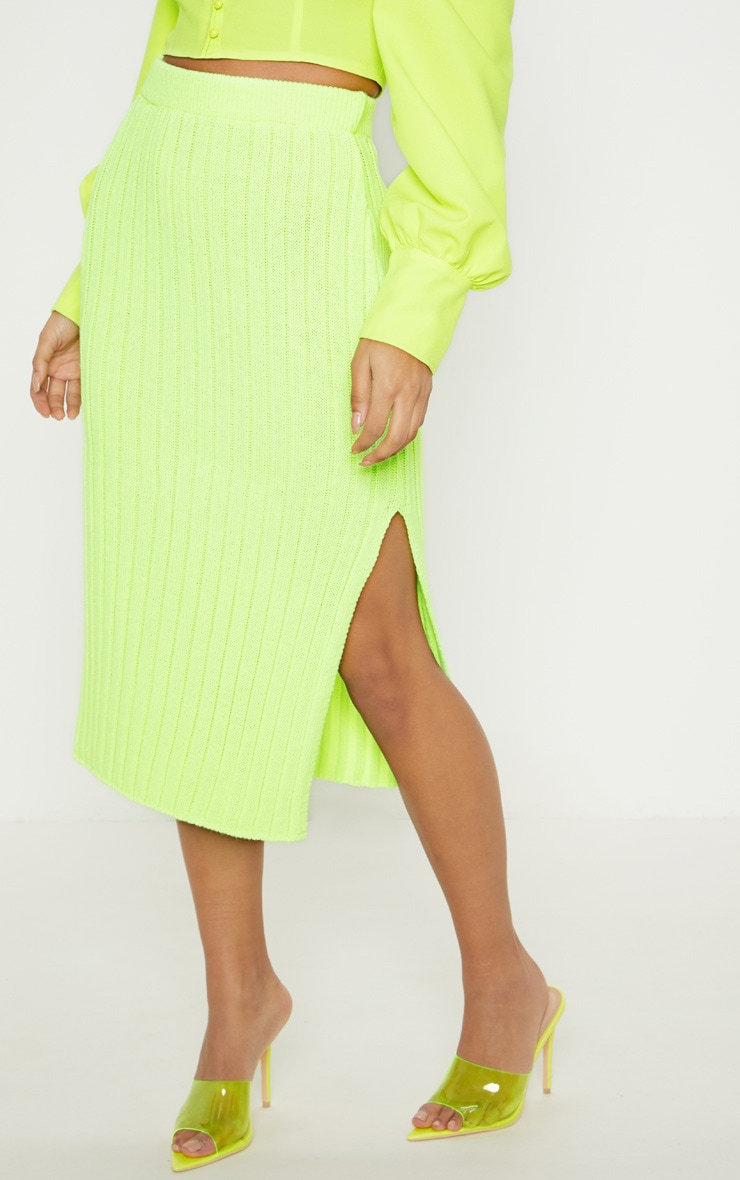 Neon Lime Knitted Ribbed Midi Skirt 2