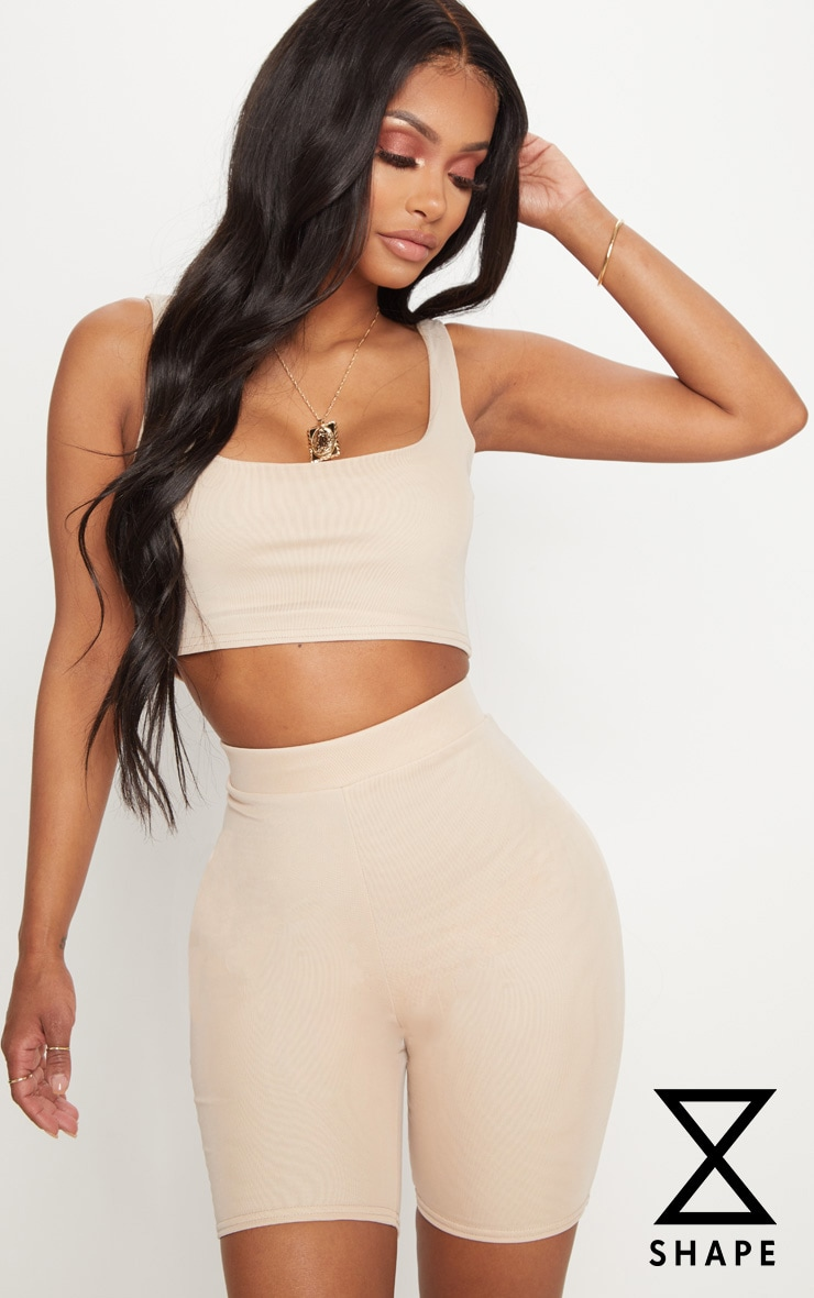 Shape Nude Mesh Scoop Neck Crop Top