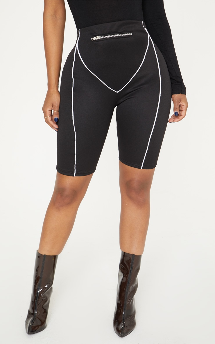 Shape Black Zip Detail Cycling Shorts 2
