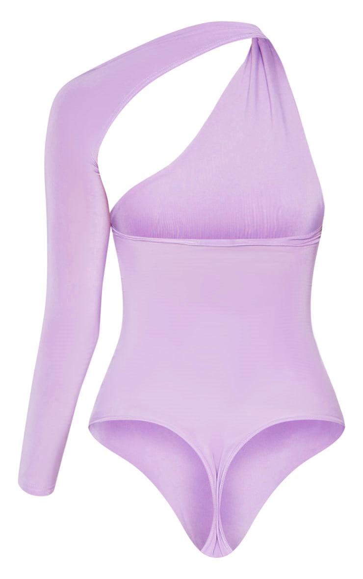 Lilac One Shoulder Asymmetric Bodysuit  4