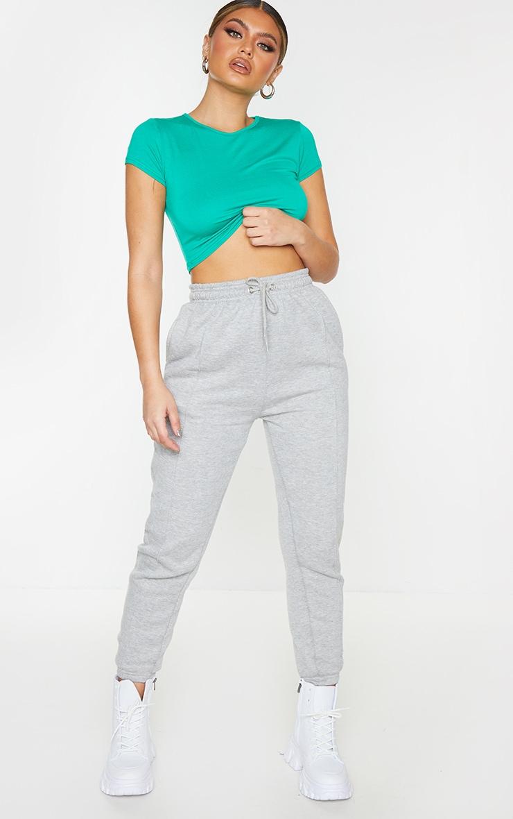 Green Basic Short Sleeve Crop T Shirt 3