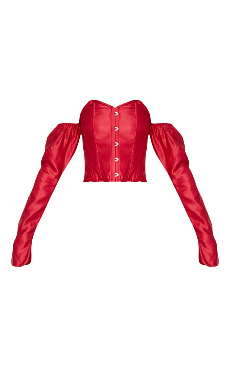 Scarlet Satin Long Sleeve Bardot Corset Top 3