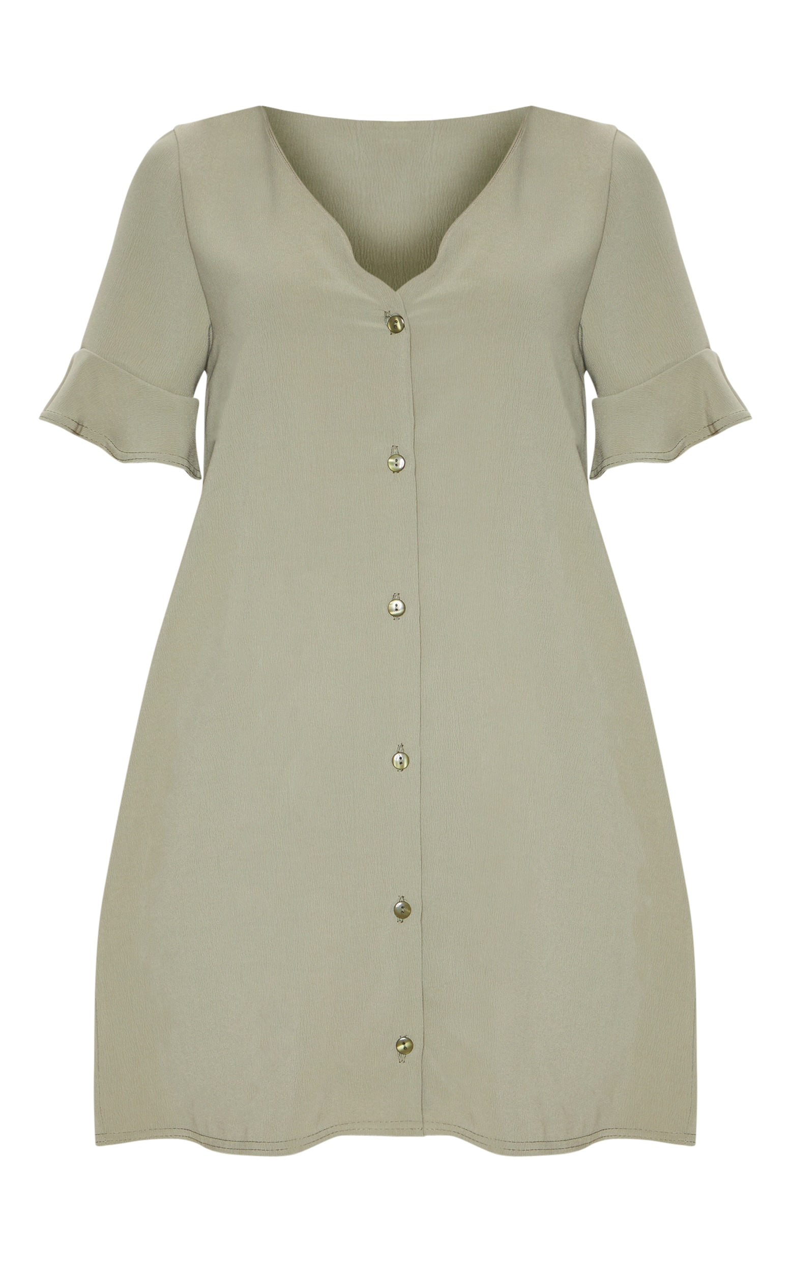 Khaki Button Through Frill Sleeve Shift Dress 3