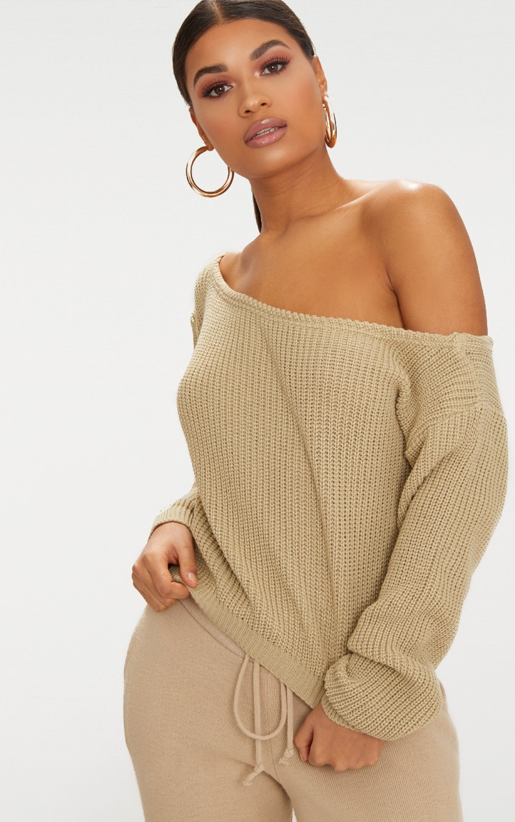 Stone Off The Shoulder Knitted Jumper 2