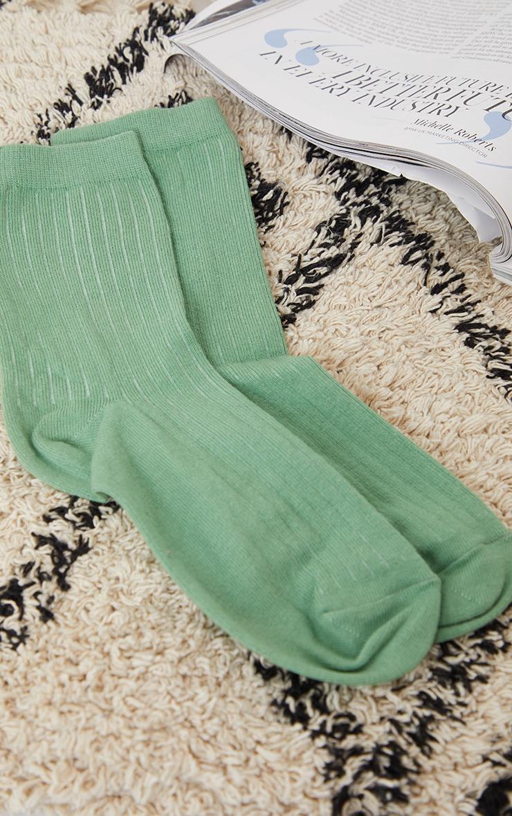 Sage Green Ribbed Ankle Socks 2