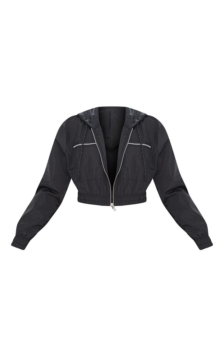 Black Nylon Shell Cropped Zip Front Jacket 5