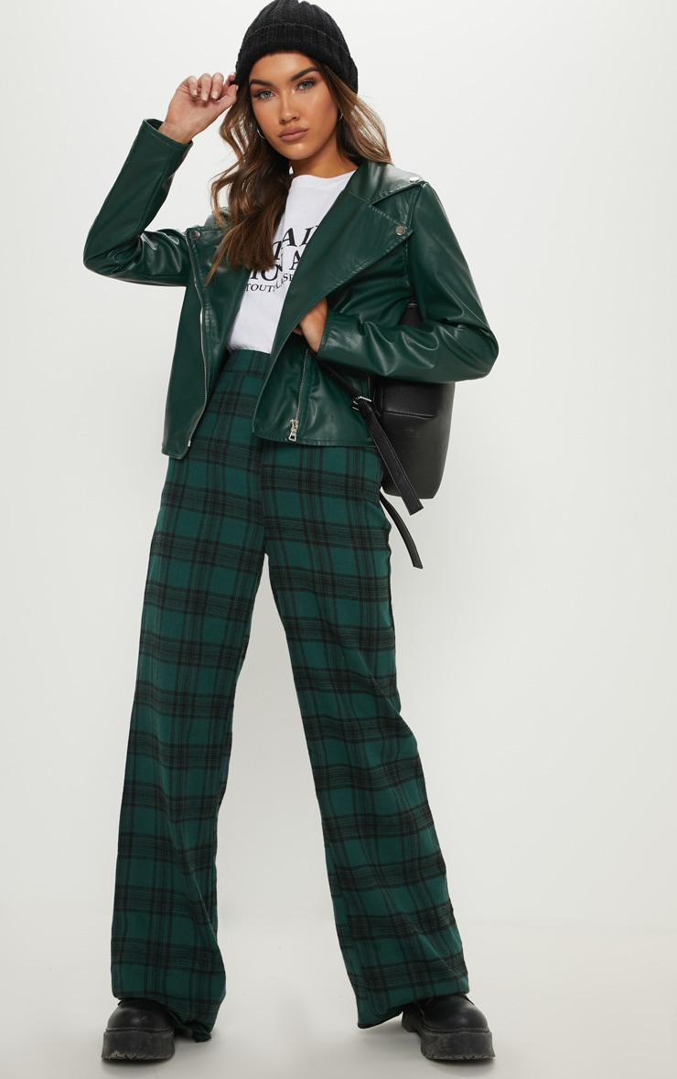 Emerald Green PU Biker Jacket 4