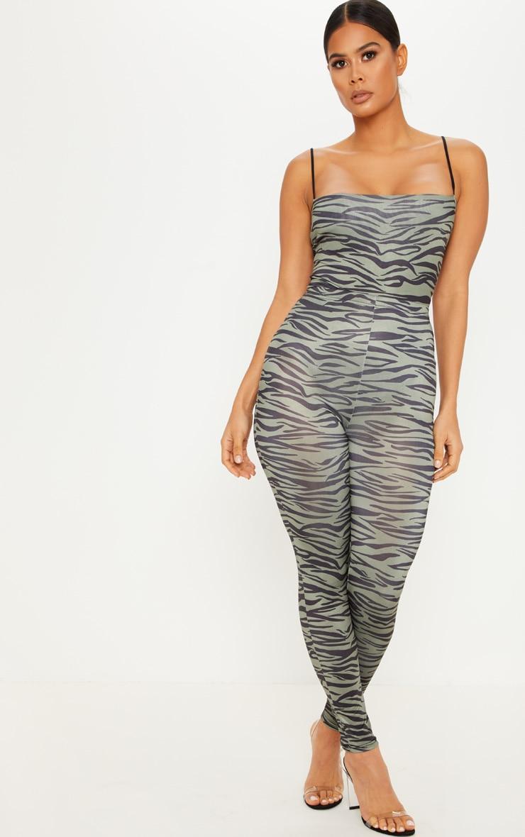 Khaki Zebra Print Soft Touch Legging