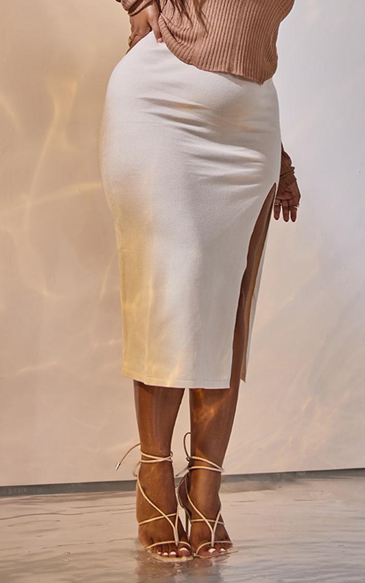 Plus Cream Fine Split Knit Midi Skirt 2
