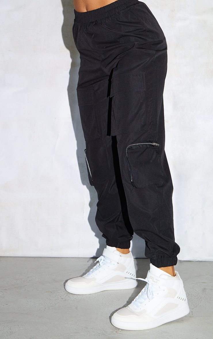 Black Woven Elasticated Waist Joggers 4
