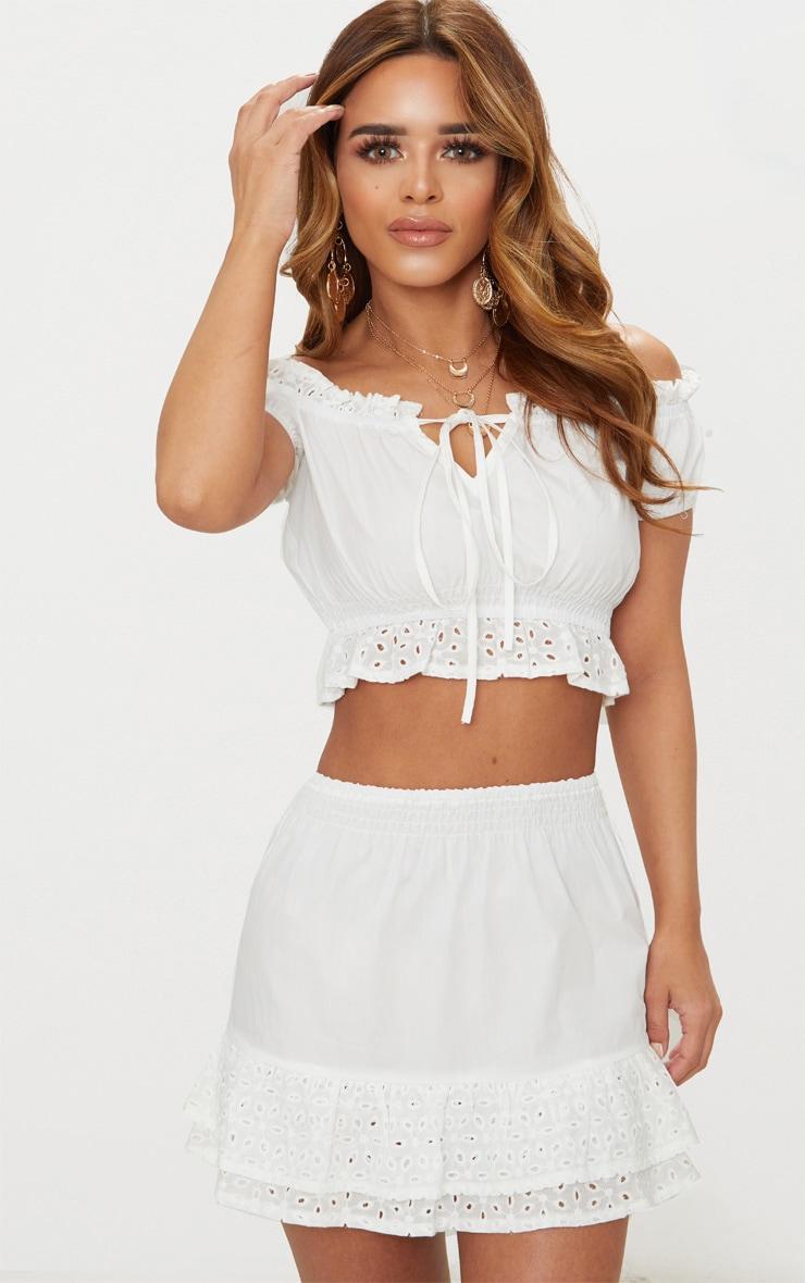 Petite White Broderie Anglaise Detail Mini Skirt 1