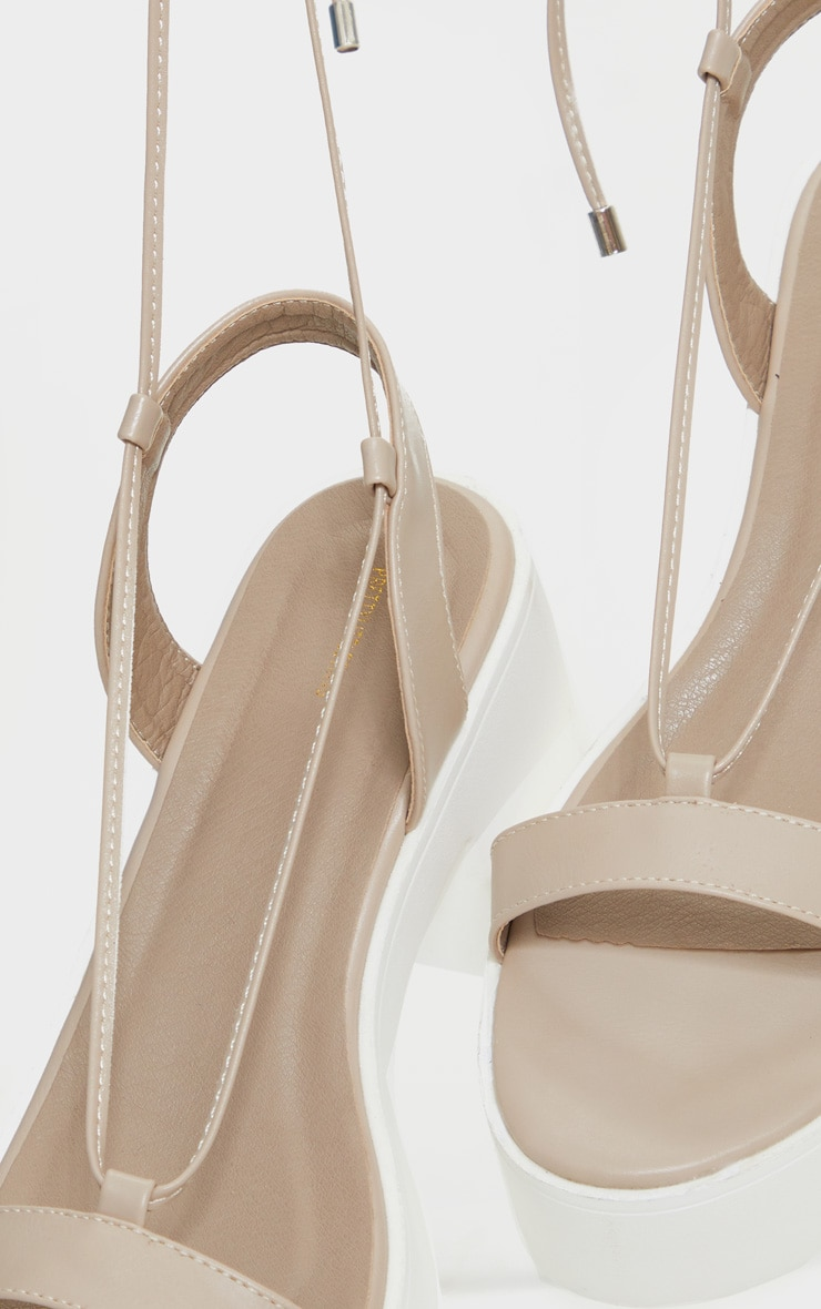 Nude Lace Up Chunky Sandals 4
