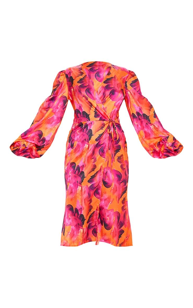 Orange Abstract Print Satin Balloon Sleeve Wrap Midi Dress 5
