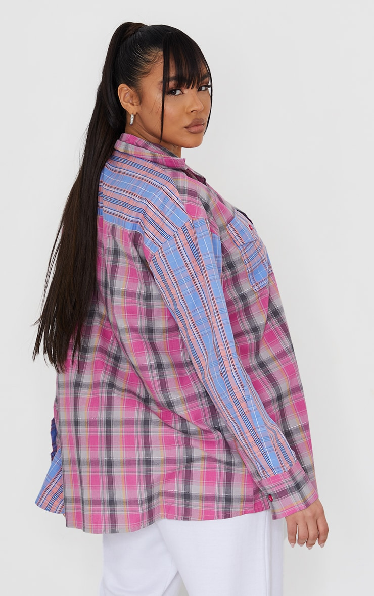 Multi Pastel Check Oversized Spliced Shirt 2
