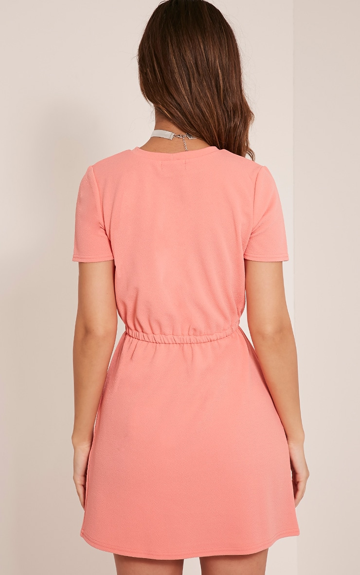 Erin Coral Tie Waist T Shirt Dress 2