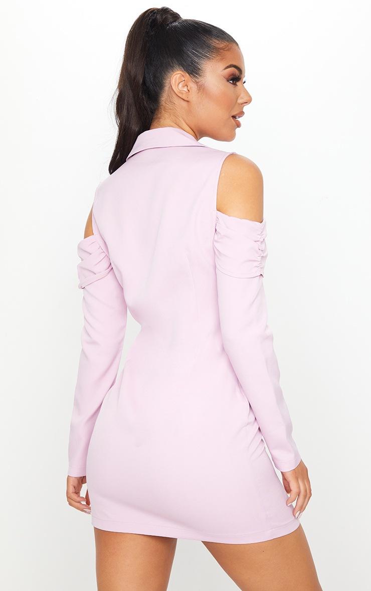 Lilac Cold Shoulder Detail Blazer Dress 2