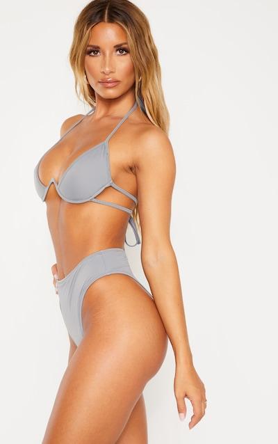 Charcoal High Waisted Cheeky Bum Bikini Bottom