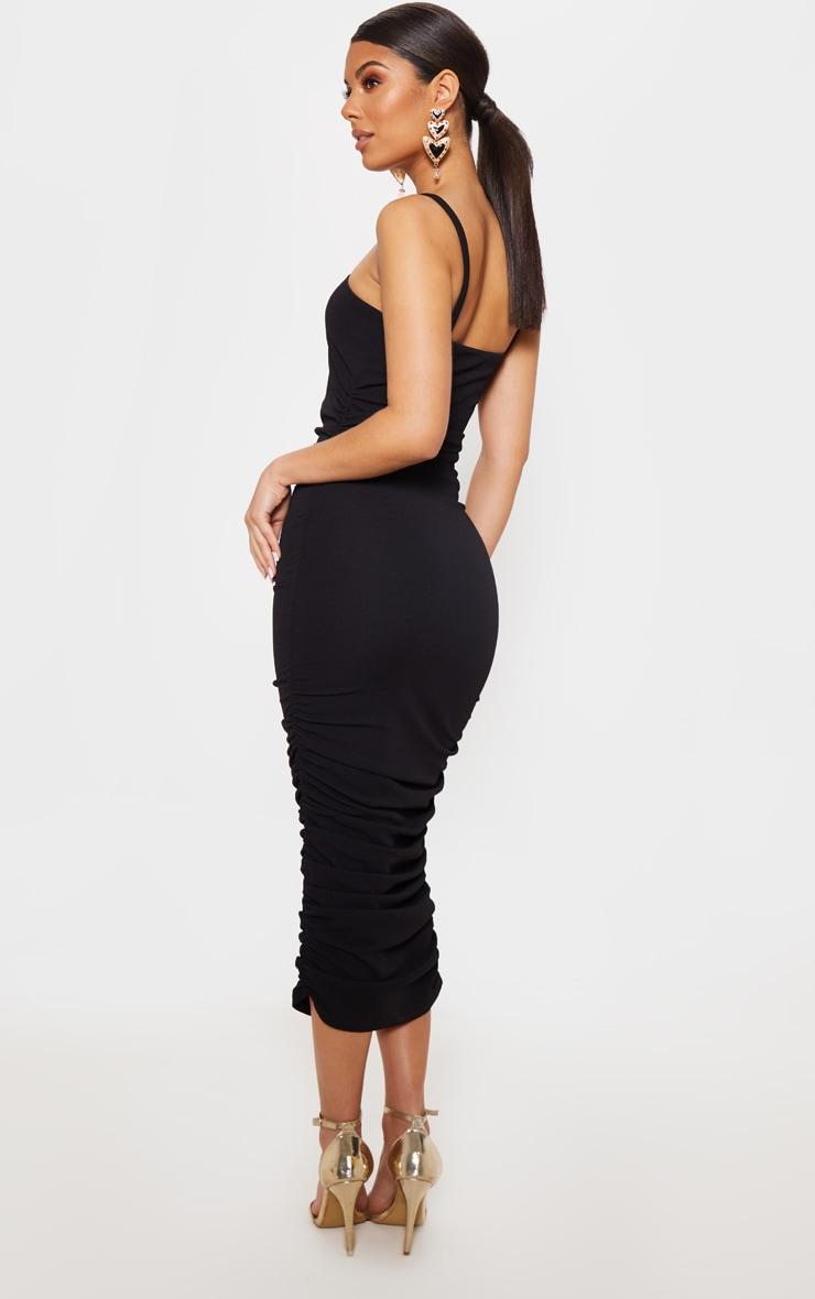 Black Ruched V Strap Midi Dress 2