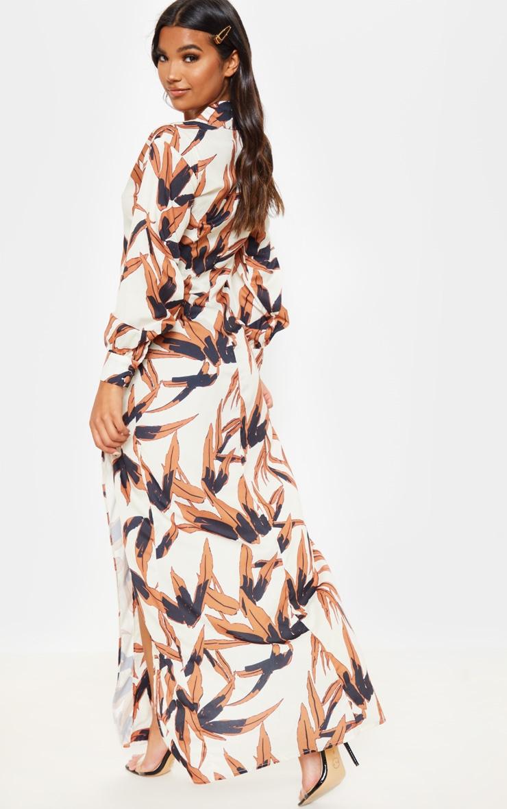 White Tropical Print Split Front Maxi Shirt Dress 2