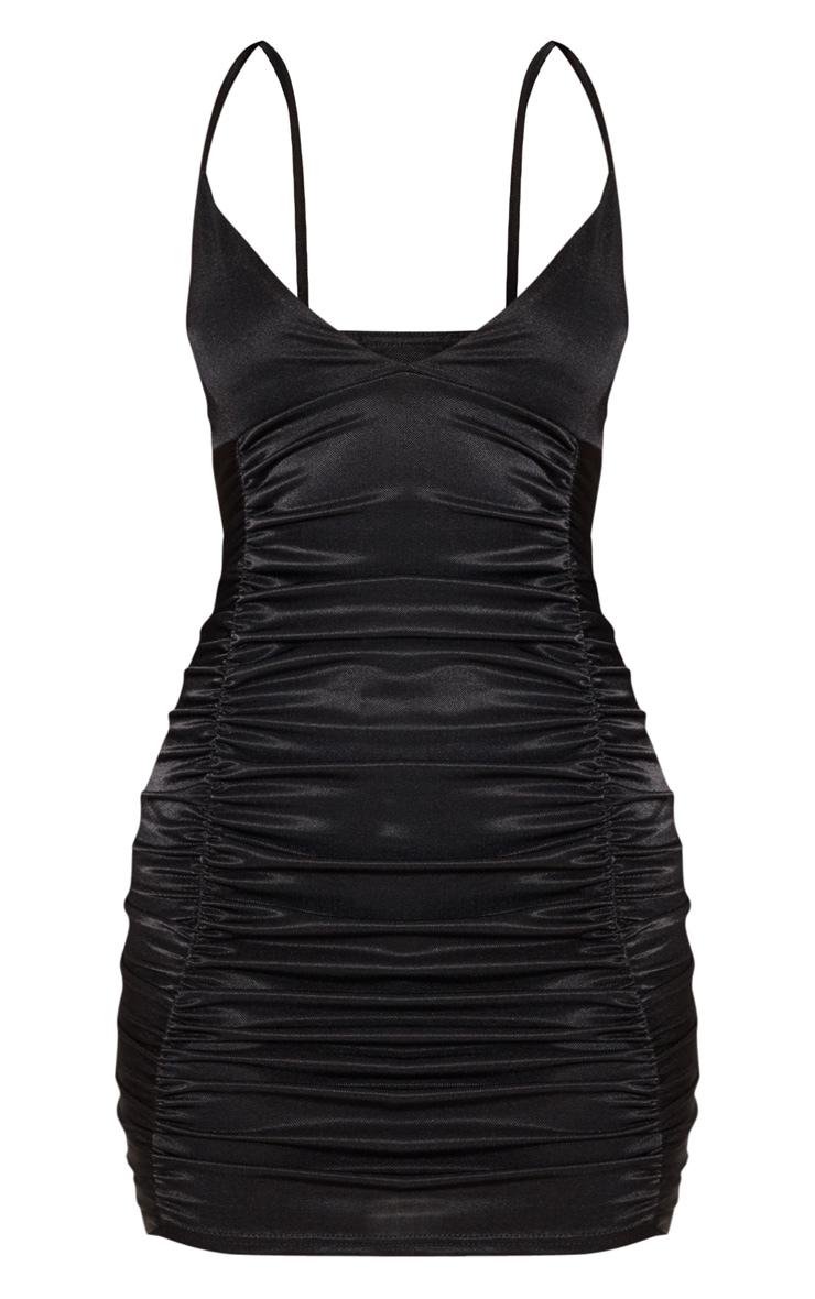 Black Satin Ruched Bodycon Dress 3
