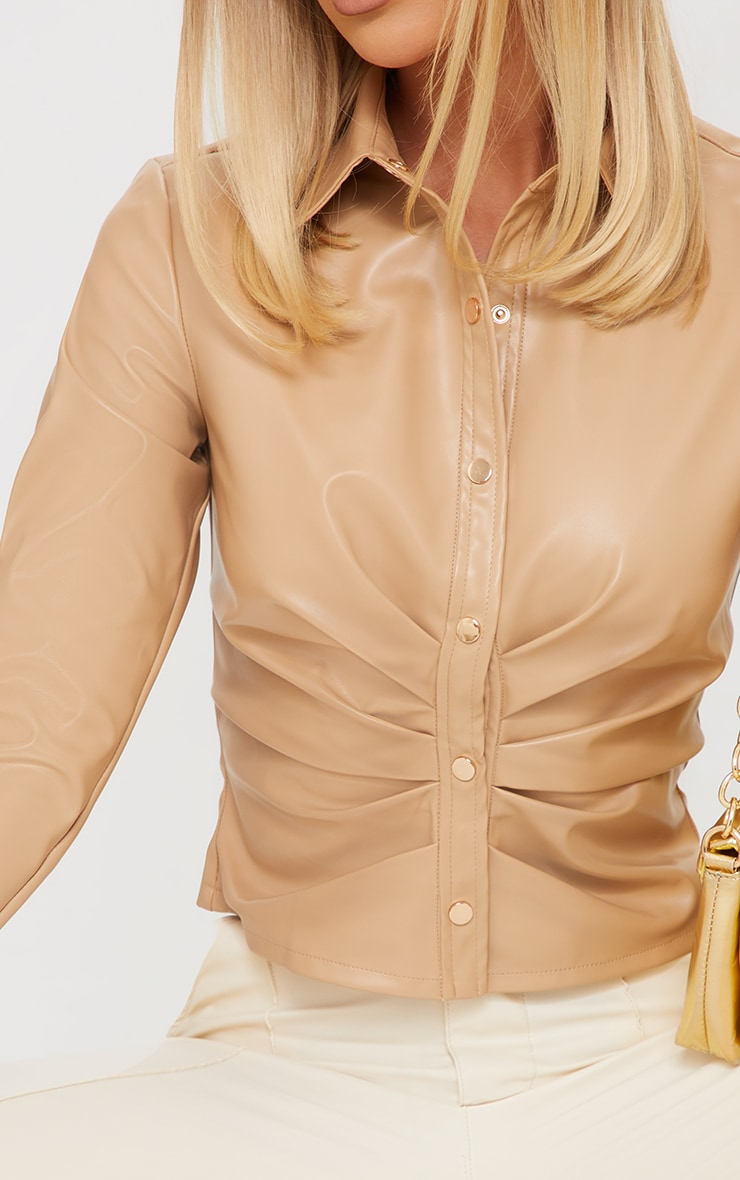 Cream PU Ruched Button Stand Fitted Shirt 4