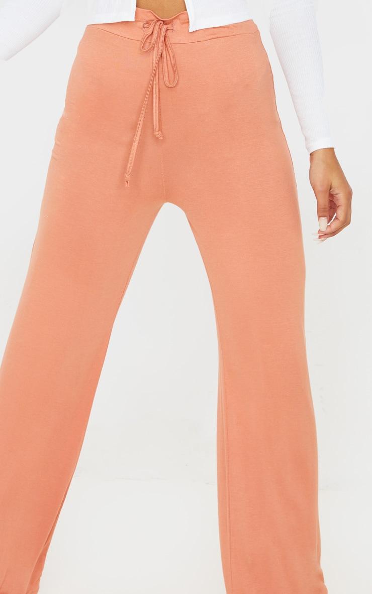 Chestnut Drawstring Jersey Wide Leg Jogger 5