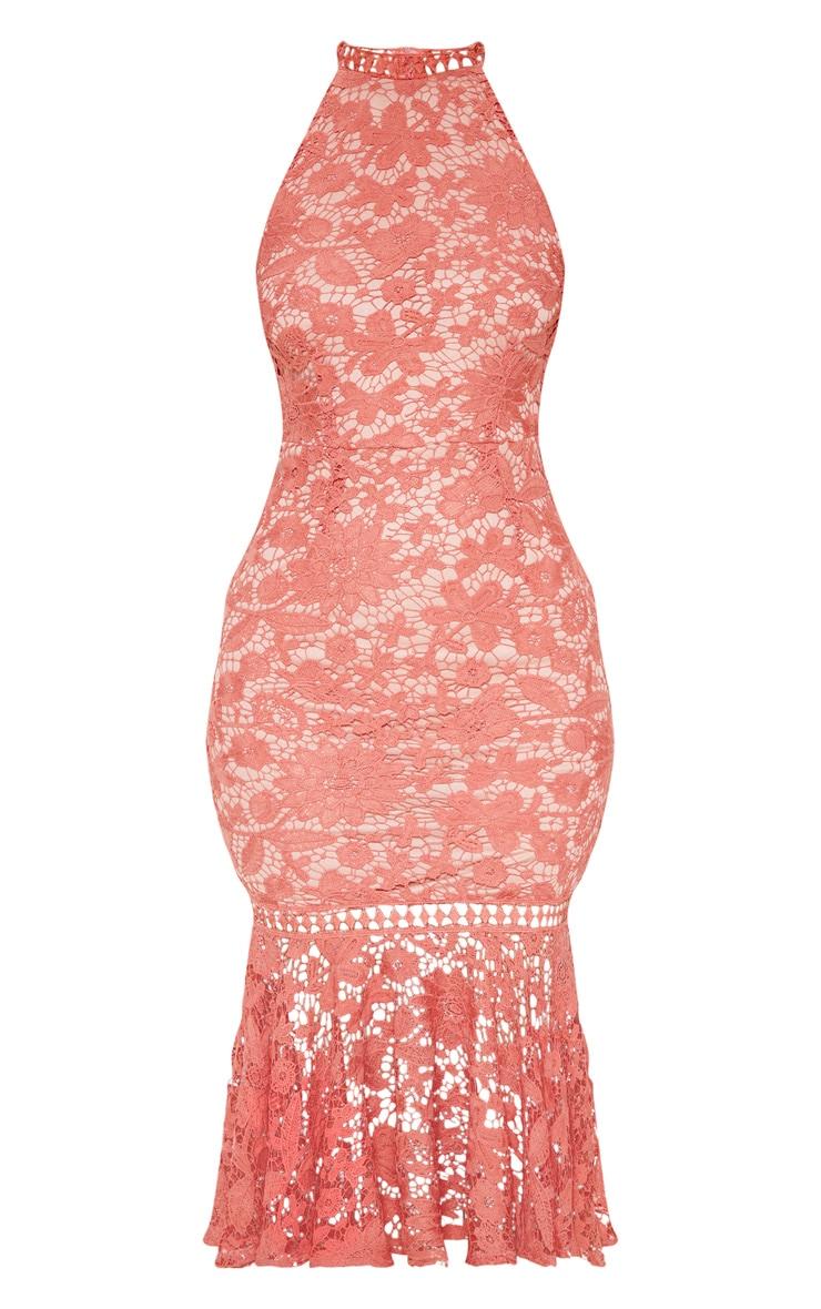 Rose Lace High Neck Flute Hem Midi Dress 3