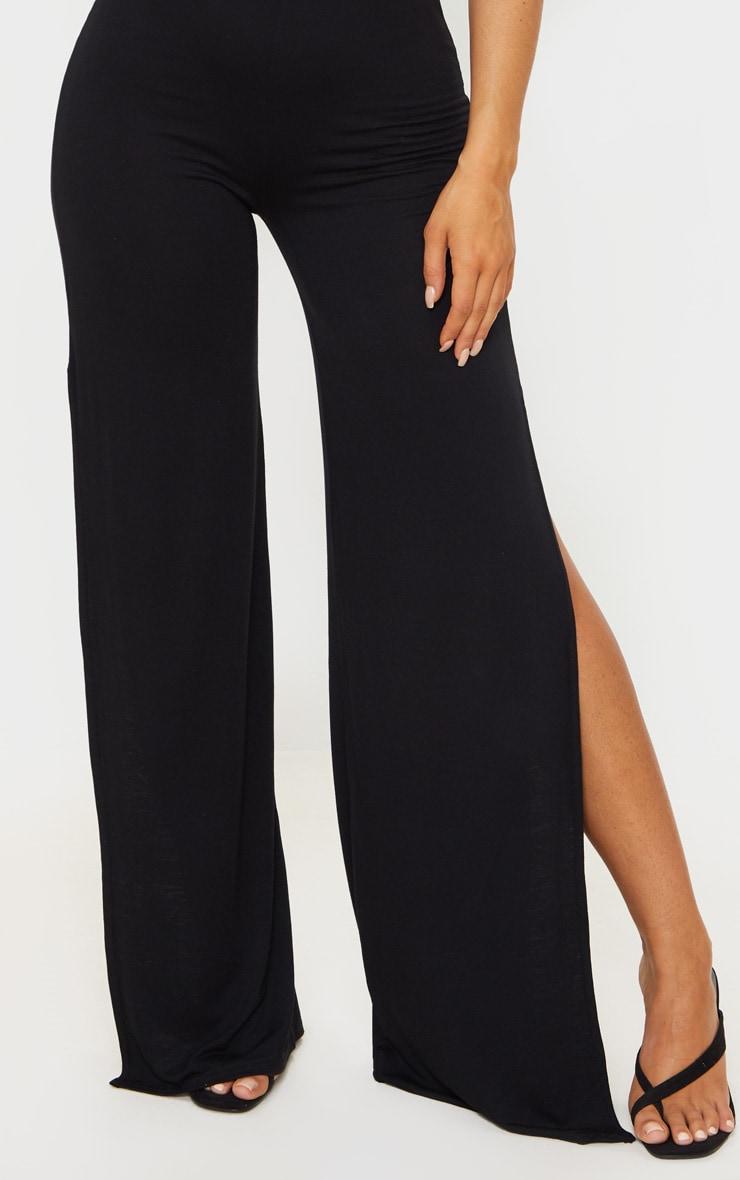 Black Jersey High Waist Split Wide Leg Pants 4