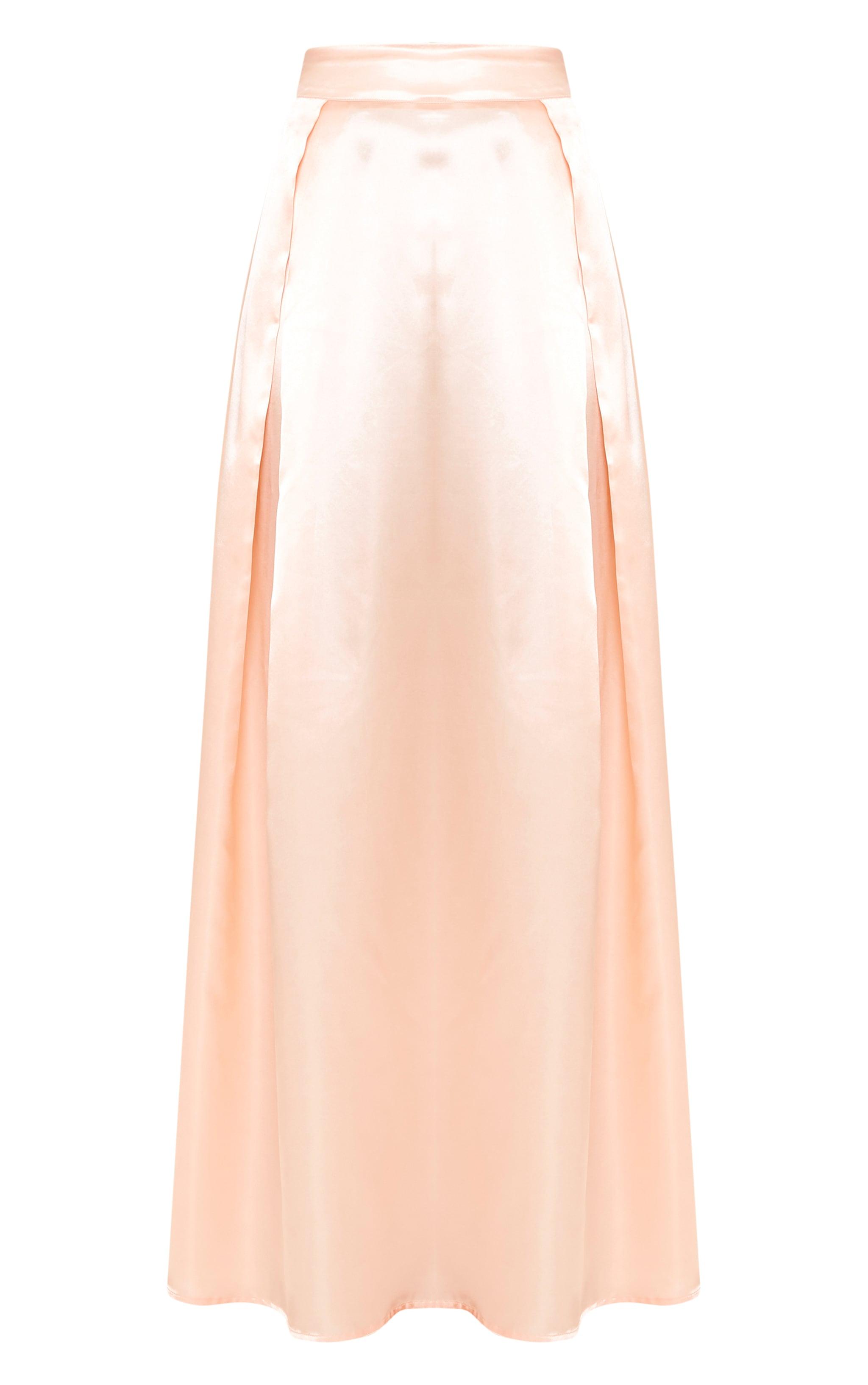 Ruthie Light Peach  Satin Maxi Prom Skirt  3