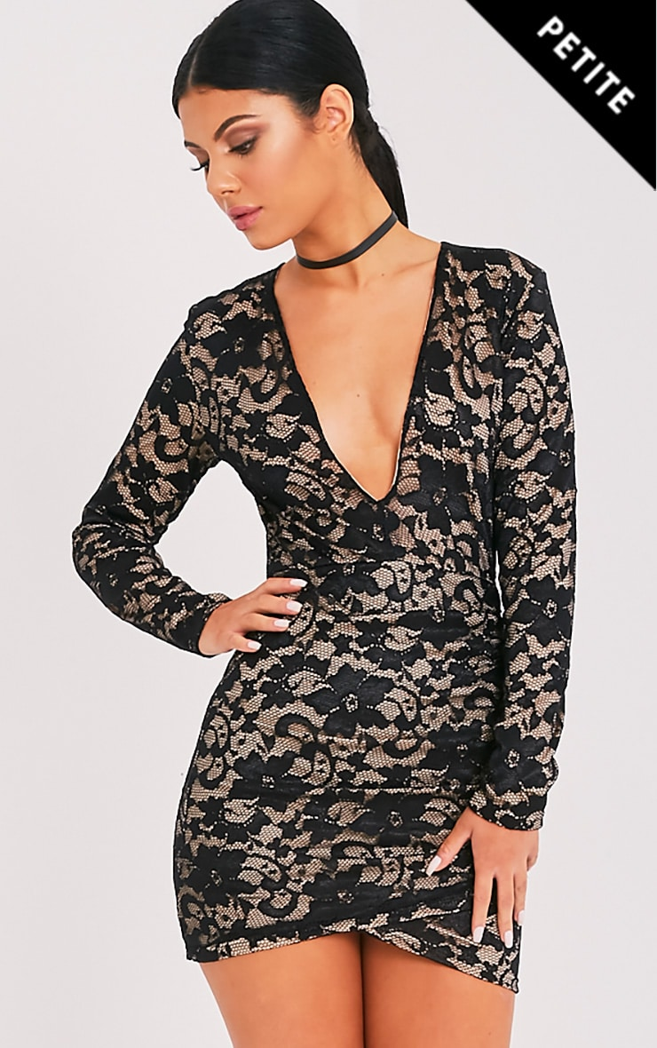 Petite Inah Black Lace Long Sleeve Bodycon Dress 1